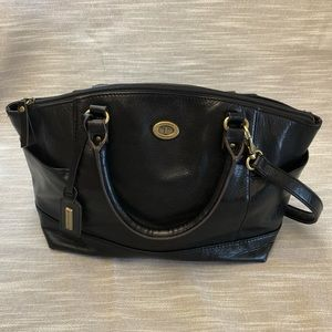 Black Leather Tignanello Tote